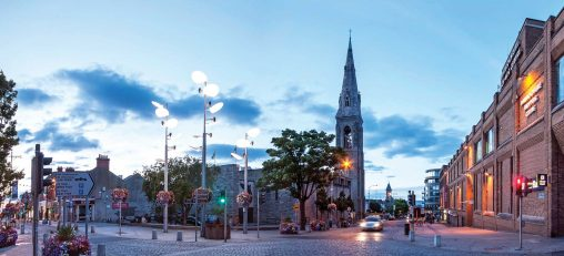 Town centre of Dun Laoghaire at dusk