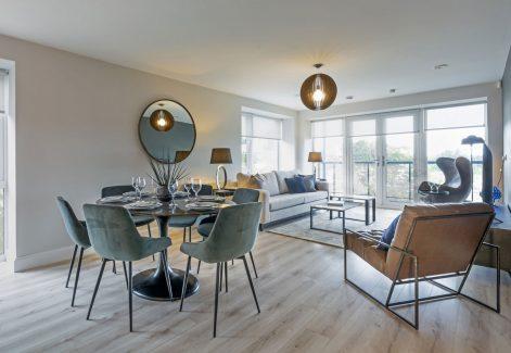 Three-bed apt living area